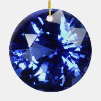サファイアの濃紺の宝石用原石9月Birthstone セラミックオーナメント