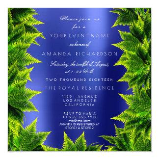 サファイアの濃紺のCaliの森林植物ホイルのシダ カード
