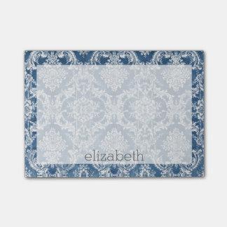 サファイアの青いヴィンテージのダマスク織のパターンおよび名前 ポストイット