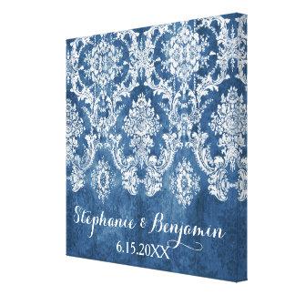 サファイアの青く素朴なダマスク織パターン結婚式 キャンバスプリント