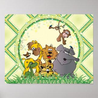 サファリのジャングルのベビー動物 ポスター
