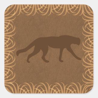 サファリのテーマ野生猫のシルエット スクエアシール