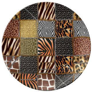 サファリのパッチワークの装飾的な磁器皿 磁器プレート