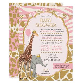 サファリのベビーシャワーの招待状-ピンクの女の子 カード