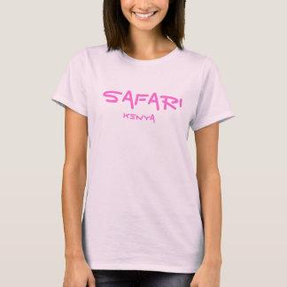 サファリの女性の淡いピンクの上 Tシャツ