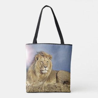 サファリの戦闘状況表示板のライオン トートバッグ