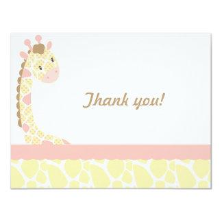 サファリの甘さのキリンはノートピンク叫び声感謝していしています カード