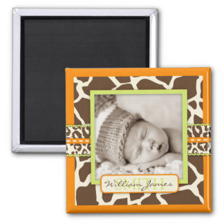 サファリの男の子のオレンジ写真の磁石 マグネット