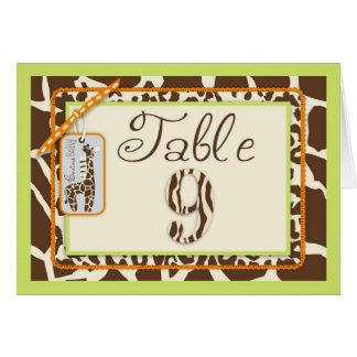サファリの男の子のグリーンテーブルカード9 カード