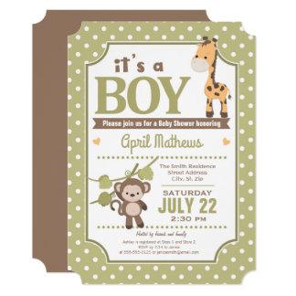 サファリの男の子のベビーシャワーの招待状 12.7 X 17.8 インビテーションカード
