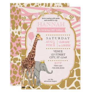 サファリの誕生日の招待状-ピンク カード