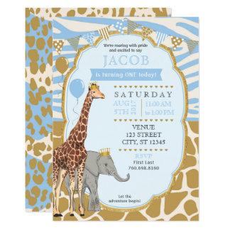 サファリの誕生日の招待状-青 カード