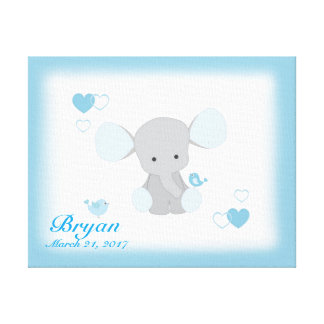 サファリ象のブルーグレーの灰色の男の赤ちゃんの子供部屋 キャンバスプリント