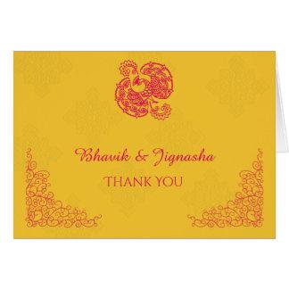サフランおよびピンクの孔雀のインディアンのサンキューカード カード