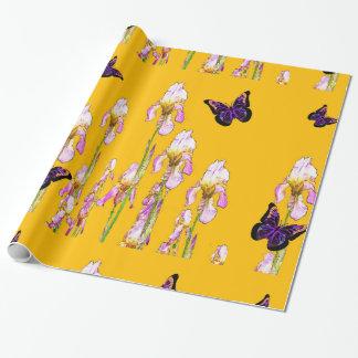 サフランのsharlesによるピンクのアイリス黒の蝶 ラッピングペーパー