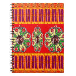 サフラン赤く神聖な色エネルギー治療の宝石インド ノートブック