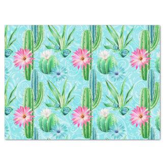 サボテンによってはピンクの青緑のsucculentが開花します 薄葉紙