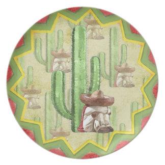 サボテンの下の睡眠のメキシコ人 プレート
