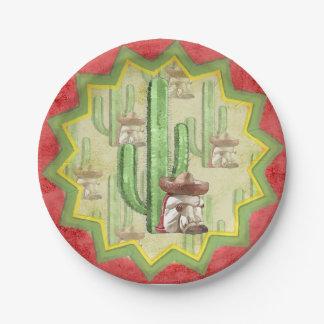 サボテンの下の睡眠のメキシコ人 ペーパープレート