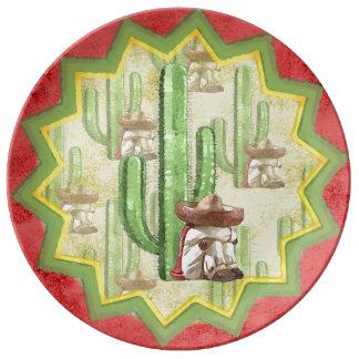 サボテンの下の睡眠のメキシコ人 磁器プレート