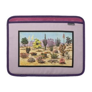 サボテンの図表、フェミニンなピンクの砂漠の花柄 MacBook スリーブ