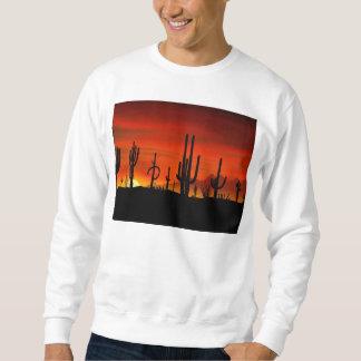 サボテンの木の絵場合の日没 スウェットシャツ
