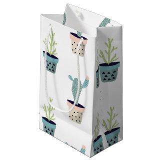 サボテンの植物パターン スモールペーパーバッグ