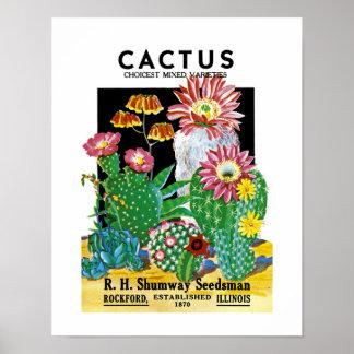 サボテンの種の包みのラベル ポスター