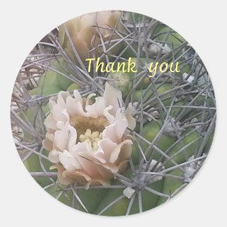 サボテンの花のステッカーありがとう ラウンドシール
