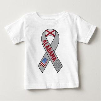 サポートのアラバマのリボン ベビーTシャツ
