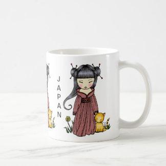 サポート日本マグの着物の女の子 コーヒーマグカップ