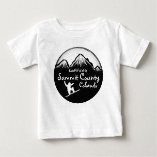 サミット郡コロラド州の白いスノーボードのベビーのティー ベビーTシャツ
