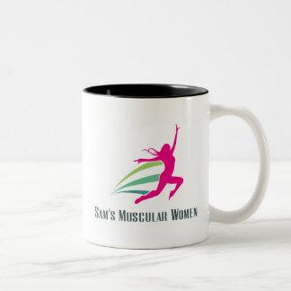 サムの筋肉女性-サムのための操業 ツートーンマグカップ