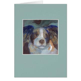 サム犬-緑フレーム グリーティングカード
