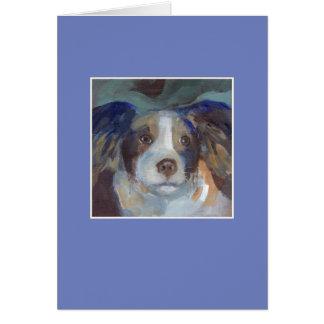 サム犬-青いフレーム グリーティングカード