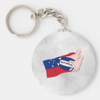 サモアの旗のラグビーのボールのパス キーホルダー