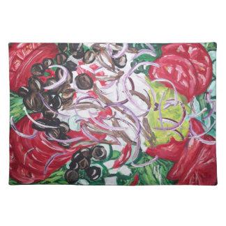 サラダ時間芸術の元の絵画のランチョンマット ランチョンマット