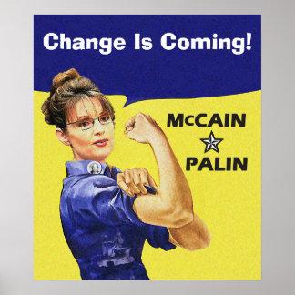 サラ・ペイリン氏- Rosieのリベッター-来ています変わります! ポスター