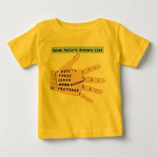 サラPalinsの食料雑貨のリスト。 赤ん坊のTシャツ ベビーTシャツ