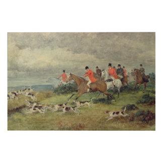 サリー州のキツネ狩り、19世紀 ウッドウォールアート
