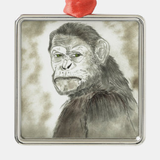 サルのスケッチのデザイン メタルオーナメント
