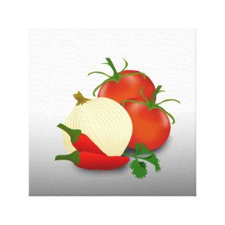 サルサのトマトのタマネギのコショウの台所食糧芸術 キャンバスプリント