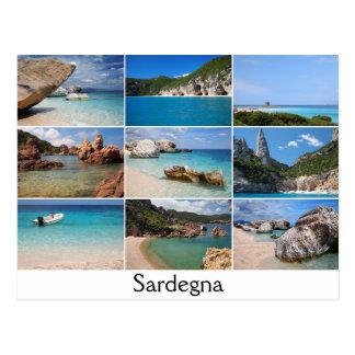 サルジニアはコラージュの文字の郵便はがきを浜に引き上げます ポストカード