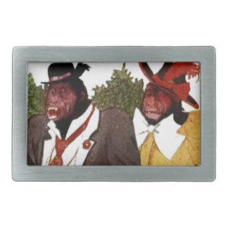 サル家族-ベビーのチンパンジー 長方形ベルトバックル