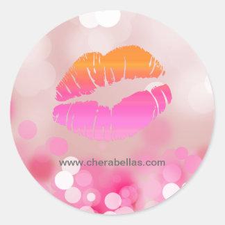 サロンのスパの美しいのステッカーのピンク唇およびライト ラウンドシール