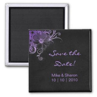 サロンのスパの花の磁石の黒のスエードの紫色 マグネット