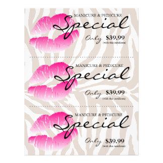 サロンのフライヤのスパの唇のピンクのシマウマベージュ色 チラシ