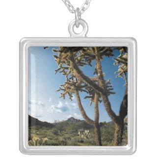 サワロ国立公園、アリゾナのサボテン シルバープレートネックレス
