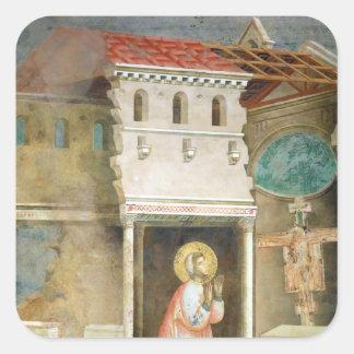 サンの教会で祈るSt Francis スクエアシール