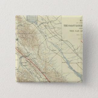 サンアンドレアスの切れ間を示すコースト山脈 5.1CM 正方形バッジ